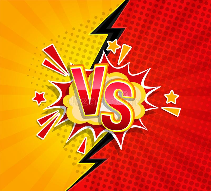 Versus competitive concept in comic style. Versus competitive concept in comic style on sunburst background with halftone and lightning split backdrop and royalty free illustration