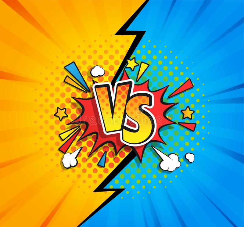 Versus competitive concept bubble in comic style. Versus competitive concept in comic style on yellow and blue background with halftone and lightning split royalty free illustration