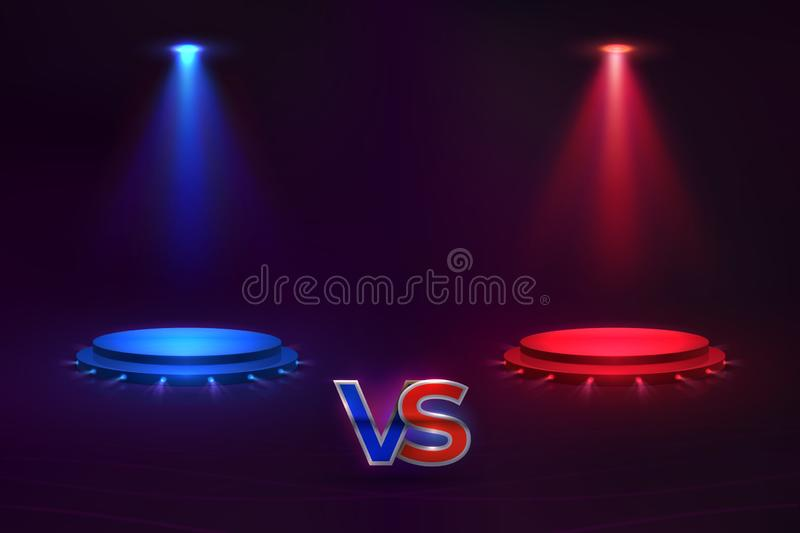 Versus concept. Glowing pedestal hologram, game match VS background, MMA competition contest. Vector versus template stock illustration