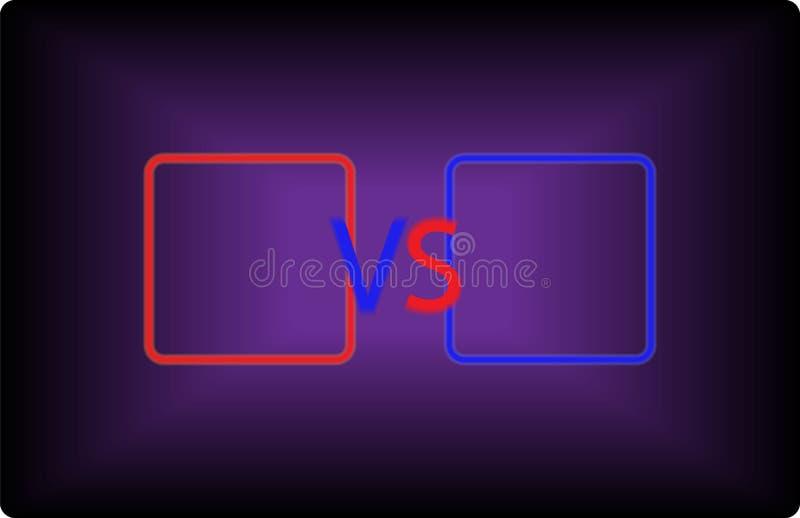 Versus ekran z czerwonych i błękita kolorami royalty ilustracja