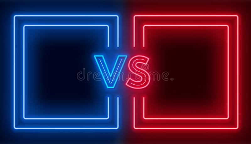 Versus ekran z neonowymi ramami vs znak na ciemnym tle i Konfrontacja projekt ilustracji