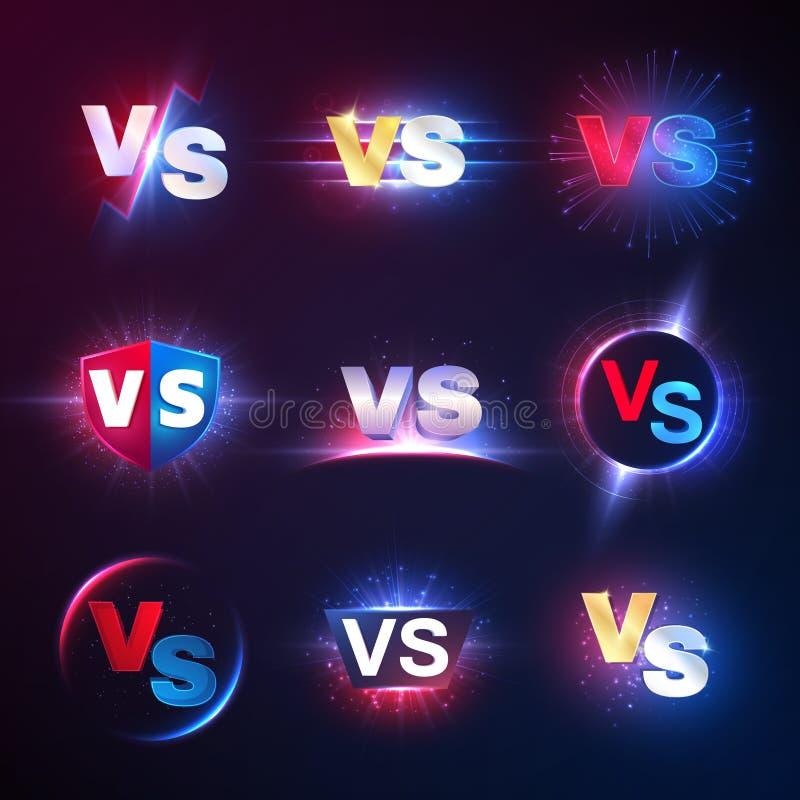 Versus emblematy Vs mma rywalizacja, batalistyczny konfrontacji lucha libre konkurs versus wektorowi symbole royalty ilustracja