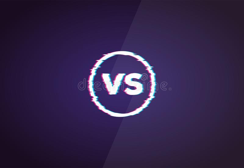Versus glitch sign. With VS letters. Battle or competition concept template in retro 3D colors. Red and blue glitch colors. Versus vector illustration template vector illustration