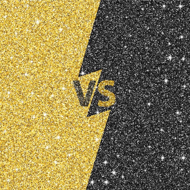 Versus glitter letters. Black and gold VS text. Vector illustration stock illustration