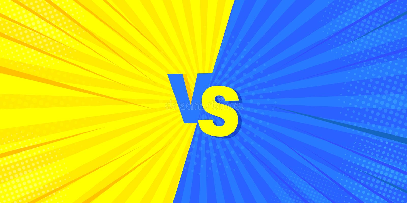 Versus het bestrijden van een grappige achtergrond Megaidee voor strippagina, in retro stijl Vectorillustratie van geel en blauw stock illustratie