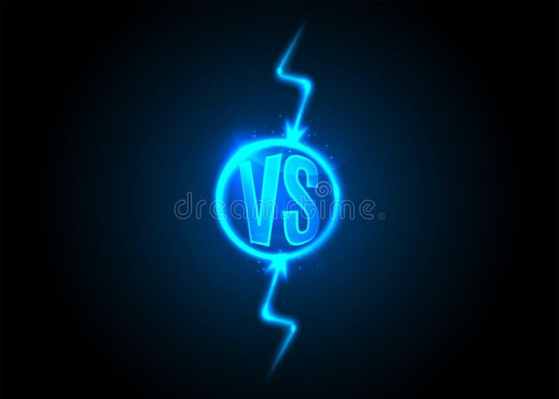 Versus ikona VS listy jest w round okrąg Błyskawicowy rygiel na Ciemnym tle ilustracji