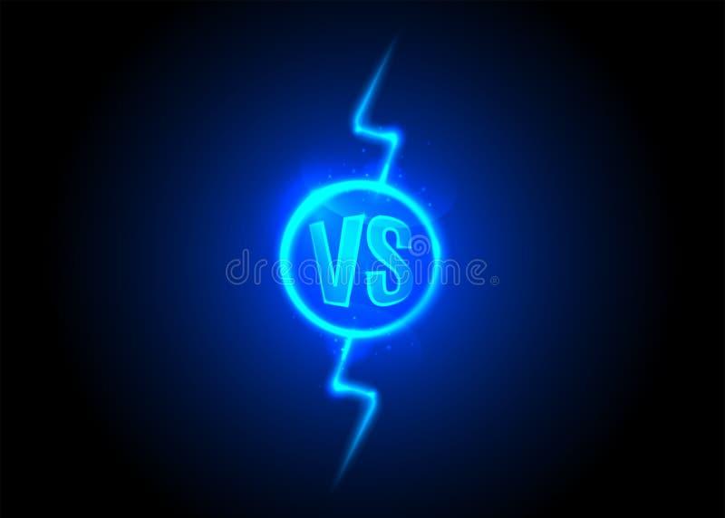 Versus ikona VS listy jest w round okrąg Błyskawicowy rygiel na Ciemnym tle ilustracja wektor