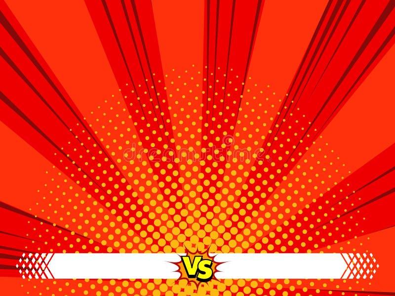 Versus komiks versus tło, bohater akcja ilustracja wektor