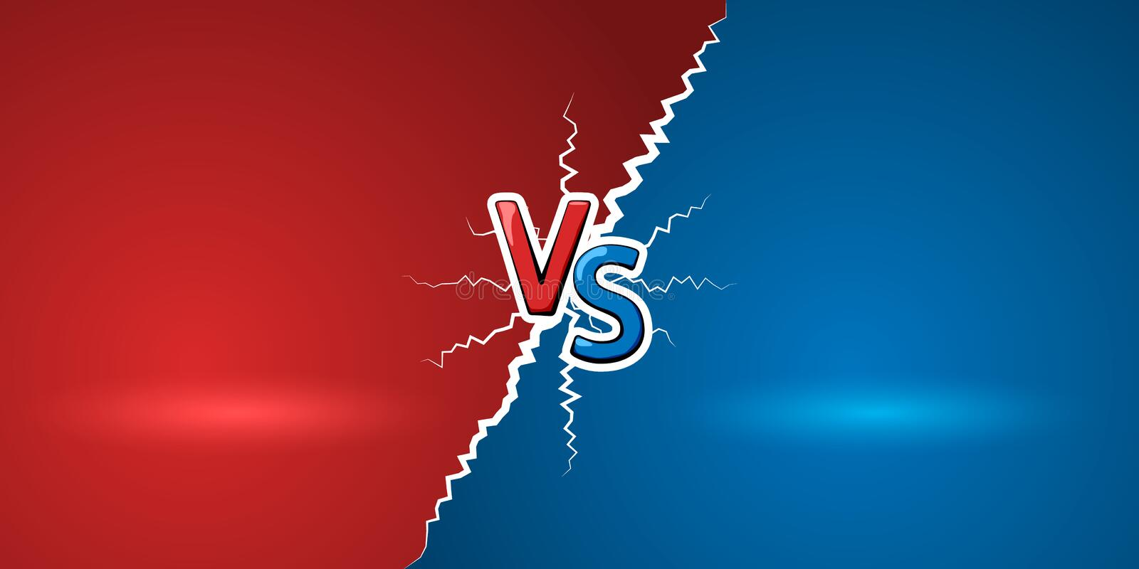 Versus letters. Red letters V and blue S symbols. VS abstract background. Vector illustration royalty free illustration