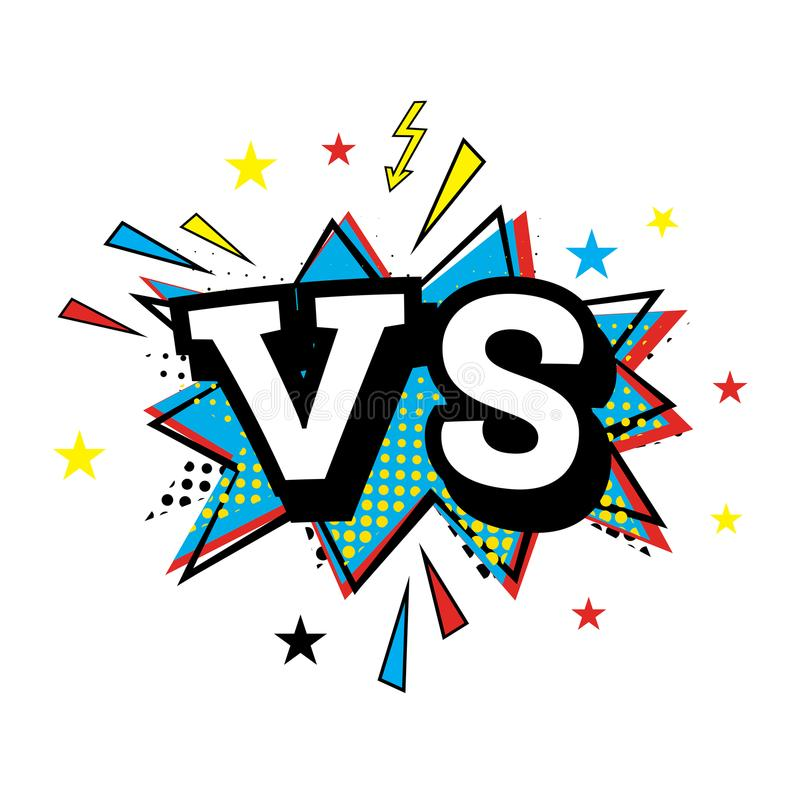 Versus Letters or VS Logo. Comic Text in Pop Art Style. stock illustration