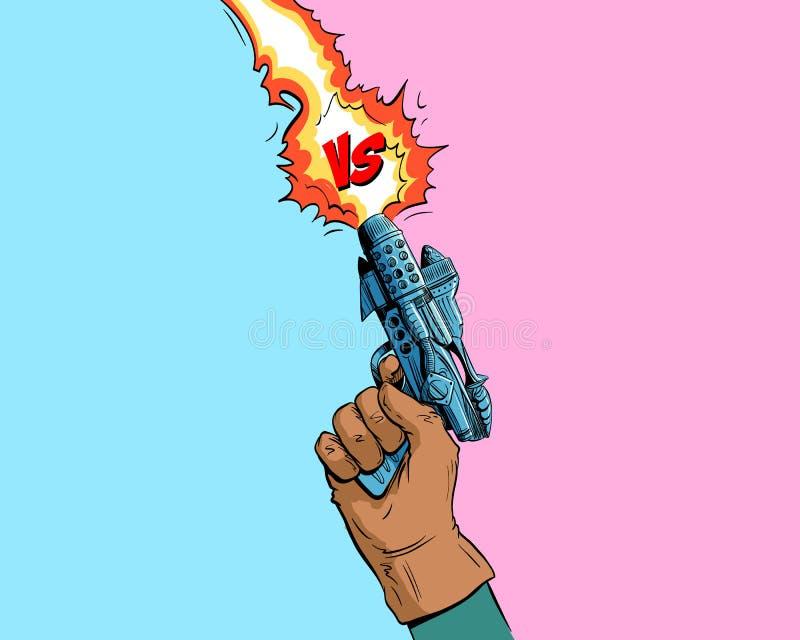 Versus list walki tło komiczek stylu projekt Ręka chwytów pistoletu przestrzeni niszczyciel również zwrócić corel ilustracji wekt ilustracja wektor