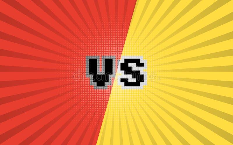 Versus list walki tło Komiks versus szablonu tło ilustracji