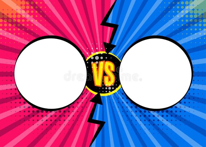Versus listy VS walk tła w płaskich komiczkach projektuje desig ilustracja wektor