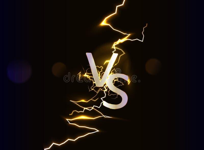 Versus logo vs letters. Lightning discharge. royalty free illustration