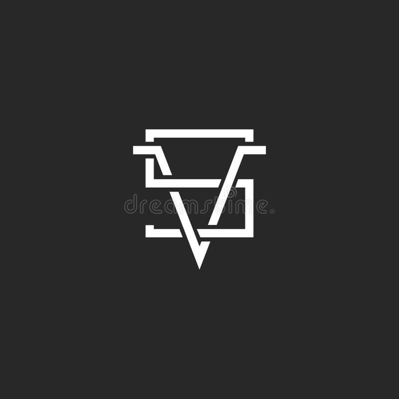 Versus logo VS listy wpólnie, modniś linii monograma czarny i biały znaka skrzyżowanie ilustracja wektor