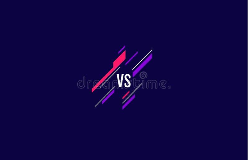 Versus logotyp mot brev för sport och tävling MMA, slag, matchning, spelkoncept konkurrenskraftigt jämfört med på mörk royaltyfri illustrationer