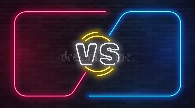 Versus neon Tegenover de banner van het slagspel met neon lege kaders Bokswedstrijdduel, van de bedrijfs slakkenconcurrentie conf vector illustratie
