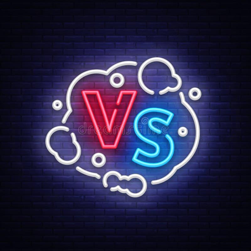 Versus neonowego znaka wektor Versus logo, symbol w neonowym stylu Projekta szablonu światła sztandar, nocy reklama Bitwa vs ilustracja wektor