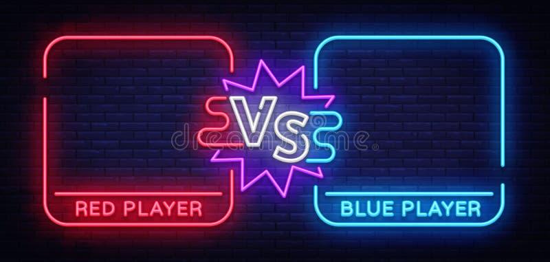 Versus neonowy sztandar z kwadratowymi ramami Parawanowa bitwa konfrontacja dwa wojownika bitwa Neonowego znaka wektor royalty ilustracja