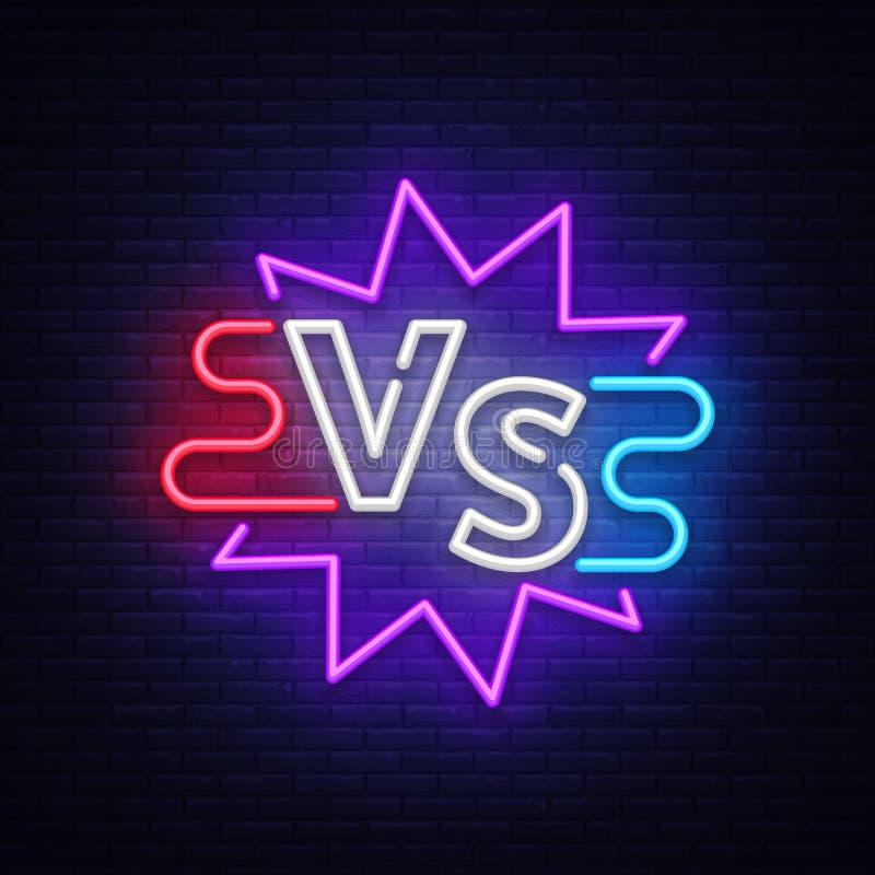 Versus neonowy znak Neonowy symbol, ikona, loga projekta szablonu konfrontacja Lekki sztandar, jaskrawa nocy reklama wektor ilustracja wektor