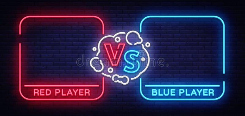 Versus parawanowy projekt w neonowym stylu Neonowy sztandaru zawiadomienie dwa wojownika Błękitny futurystyczny neonowy VS liście ilustracja wektor