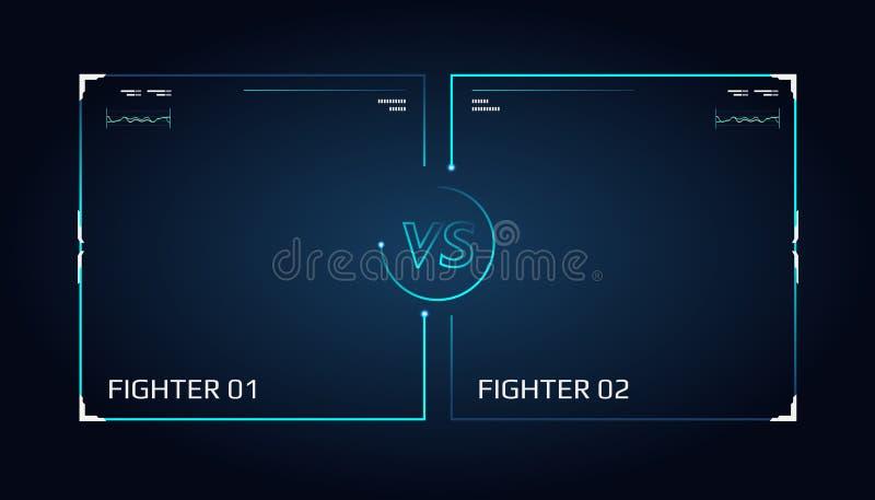 Versus parawanowy projekt Zawiadomienie dwa wojownika Błękitny futurystyczny neonowy VS listy royalty ilustracja