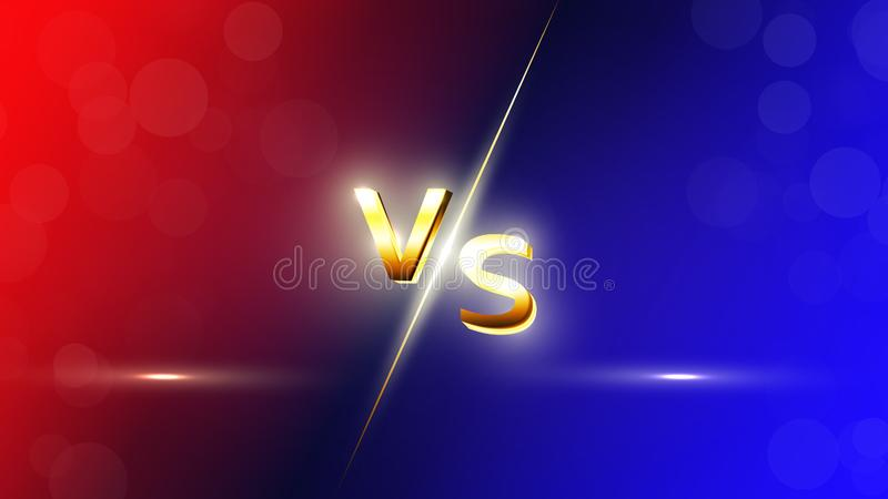 Versus Red and blue VS letters background for sports, fight competition, battle, match and games royalty free illustration