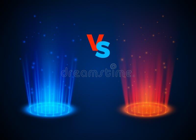 Versus rozjarzeni ?wiat?o reflektor?w b??kita i czerwieni kolory Abstrakcjonistyczny hologram Vs batalistyczna scena z promieniam ilustracji