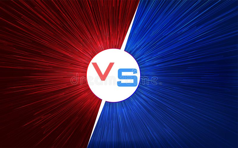 Versus screen design. Red and blue VS letters. Light warp speed. Vector illustration royalty free illustration