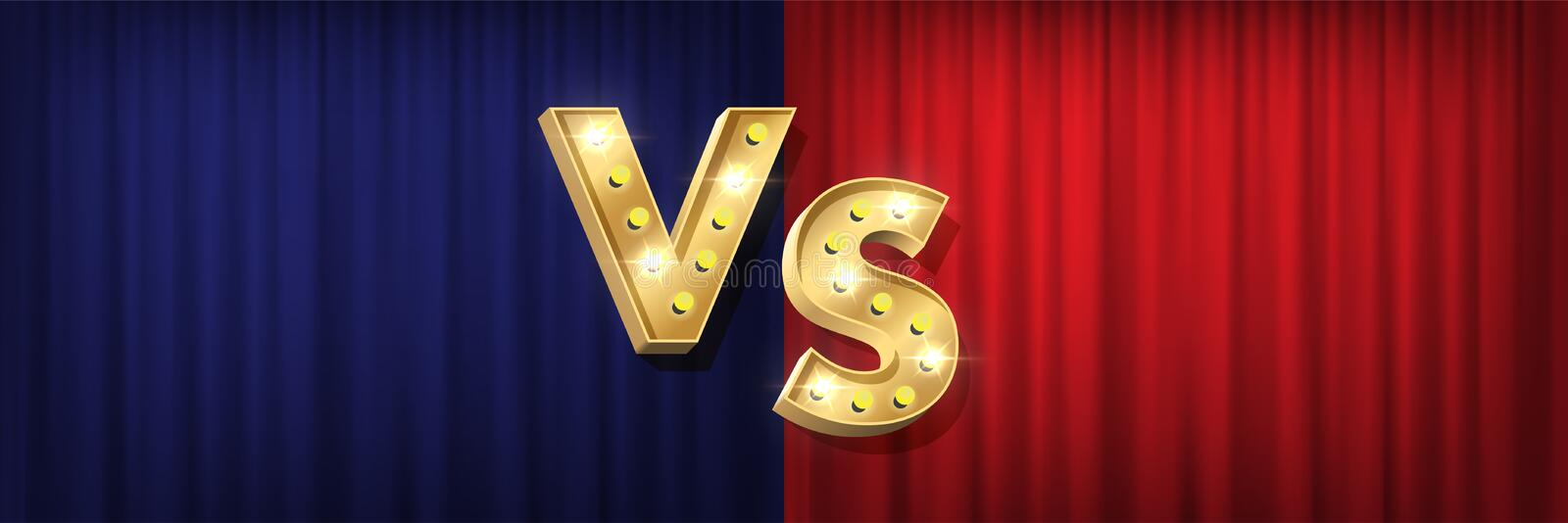 Versus screen design. Vector golden VS letters with shiny bulbs on red and blue curtain backgrounds. vector illustration