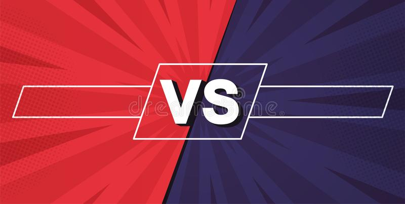 Versus screen. Fight backgrounds against each other, red vs blue. royalty free illustration