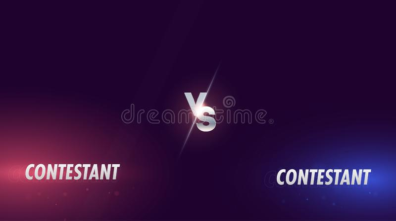 Versus screen. Vs battle headline, conflict duel between Red and Blue teams. Abstract background with versus monogram. Chrome royalty free illustration
