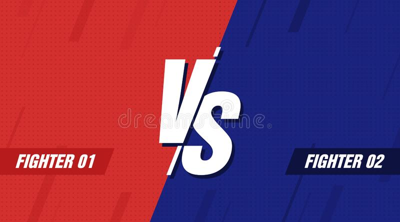 Versus screen. Vs battle headline, conflict duel between Red and Blue teams. Confrontation fight competition. Vector royalty free illustration