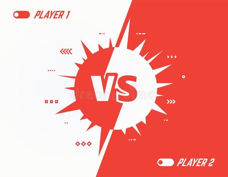 Versus spikes background. Versus vector template background. Battle or competition concept template. Red and white players. Video games or fighting competitors stock illustration