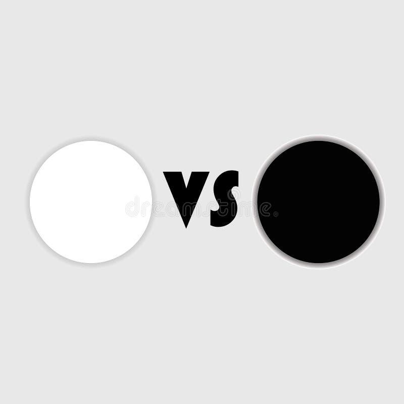 Versus szablon z round odznakami dla teksta VS ekran z pustą przestrzenią Batalistyczny tło ilustracji