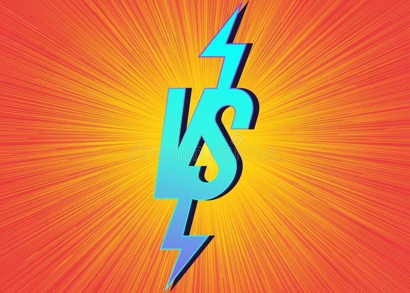 Versus sztandar vs z znakiem na pomarańczowym jaskrawym tle ilustracji