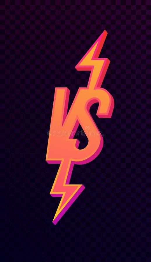 Versus szyldowy śmiały neonowy gradientu styl ilustracja wektor