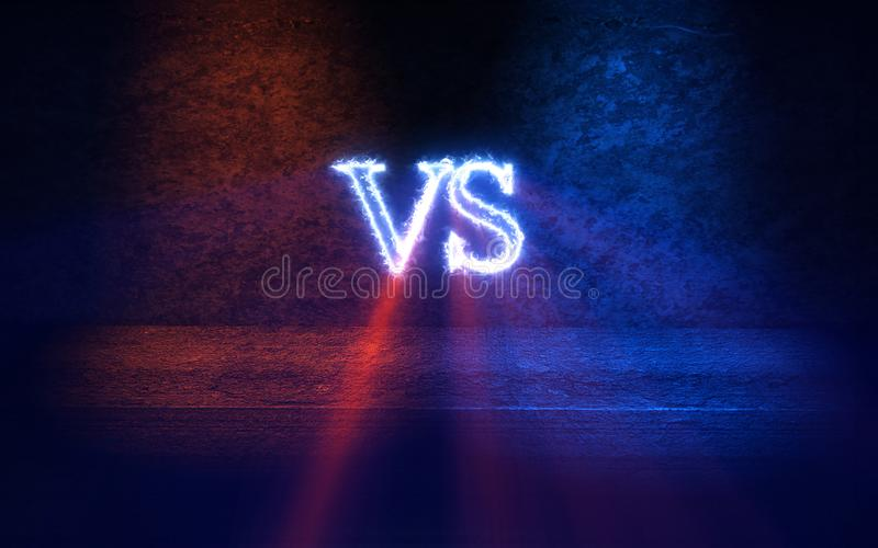 Versus tło z błękita i czerwieni promieni 3D jarzeniową ilustracją ilustracji