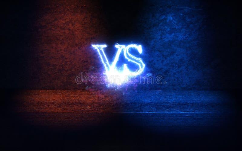 Versus tło z błękita i czerwieni promieni 3D jarzeniową ilustracją ilustracja wektor