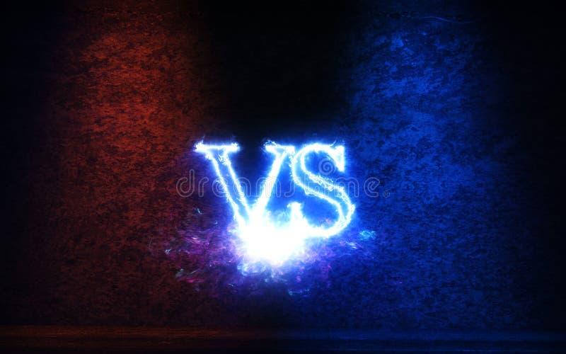 Versus tło z błękita i czerwieni promieni 3D jarzeniową ilustracją royalty ilustracja