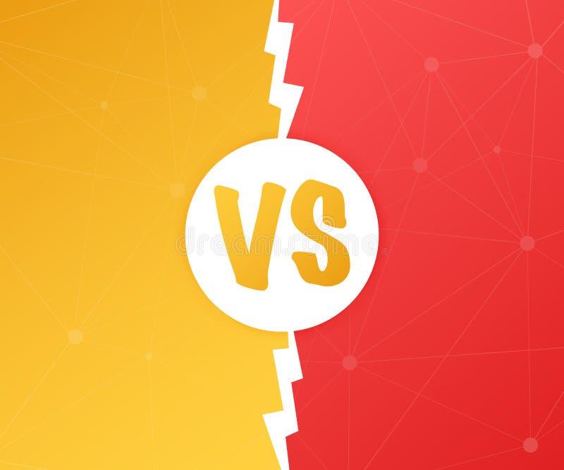 VERSUS tegenover Blauw en rood grappig ontwerp De gelijke van de slagbanner, versus de confrontatie van de brievenconcurrentie Ve stock illustratie