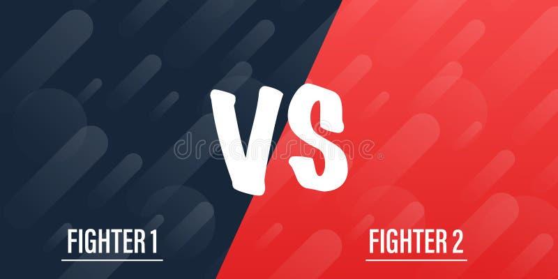 VERSUS tegenover Blauw en rood grappig ontwerp De gelijke van de slagbanner, versus de confrontatie van de brievenconcurrentie Ve vector illustratie