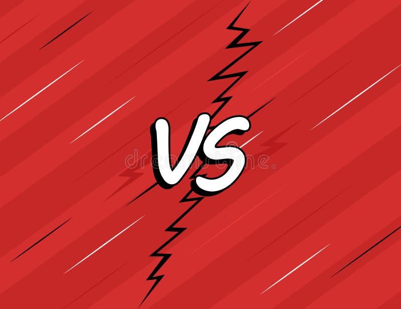 VERSUS tegenover Het ontwerp strijd van de achtergronddiestrippaginastijl op rode achtergrond wordt geïsoleerd Moderne vectorillu royalty-vrije illustratie