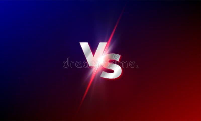 VERSUS tegenover vectorachtergrond De rode en blauwe concurrentie van de mmastrijd VERSUS lichte ontploffingsfonkeling vector illustratie