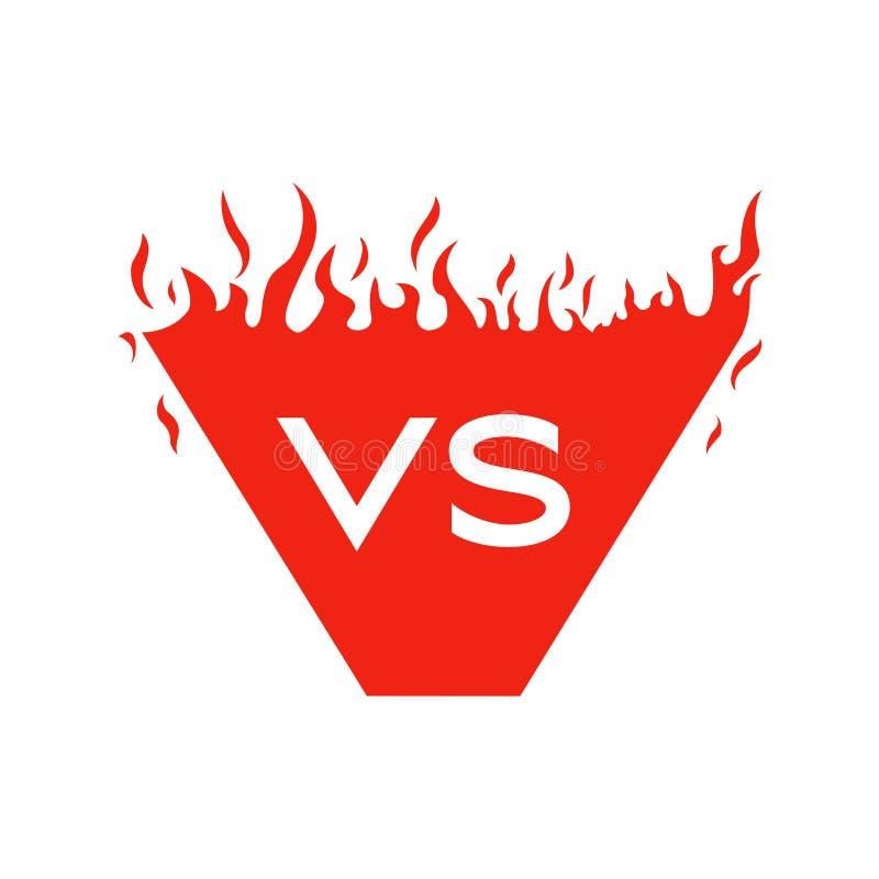 Versus tekst i kształt z pożarniczymi ramami Czerwony płonąć VS listy royalty ilustracja