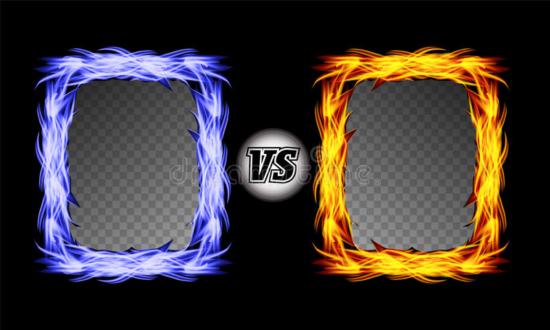 Versus Vector Symbol With Fire Frames. VS Letters. Flame Fight Background Design. Competition Concept. Fight stock illustration