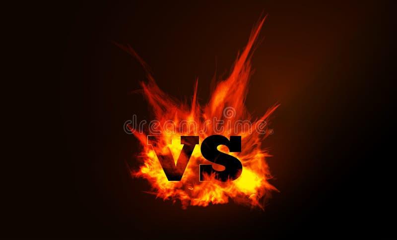 VERSUS vergelijking van een vectorachtergrond met een vurige vlam vector illustratie