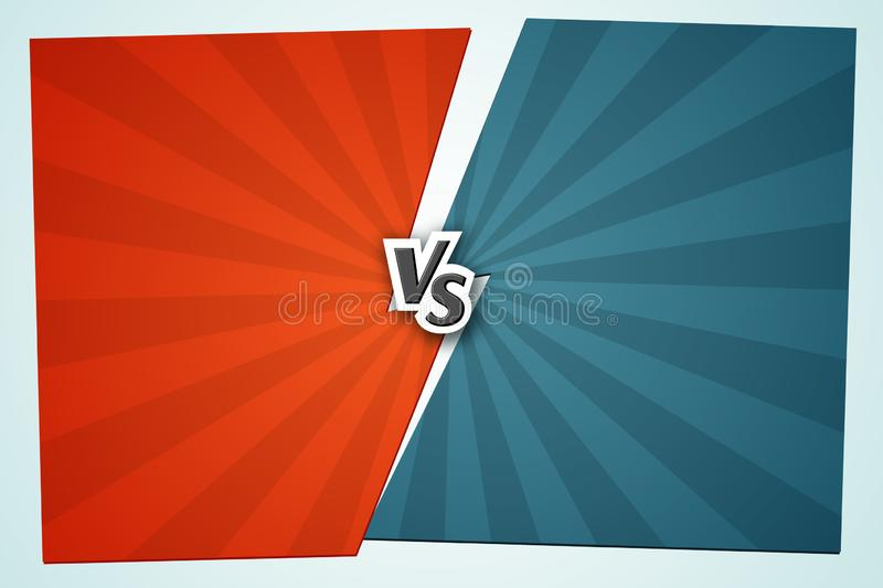 Versus VS Background Letters vs on the gap red and blue background of lines rays Blank template background for team competition royalty free illustration