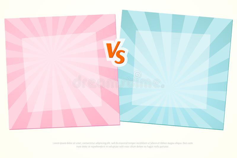 Versus VS Background Letters vs on a pink and blue background of lines rays Blank template background for team competition battle royalty free illustration