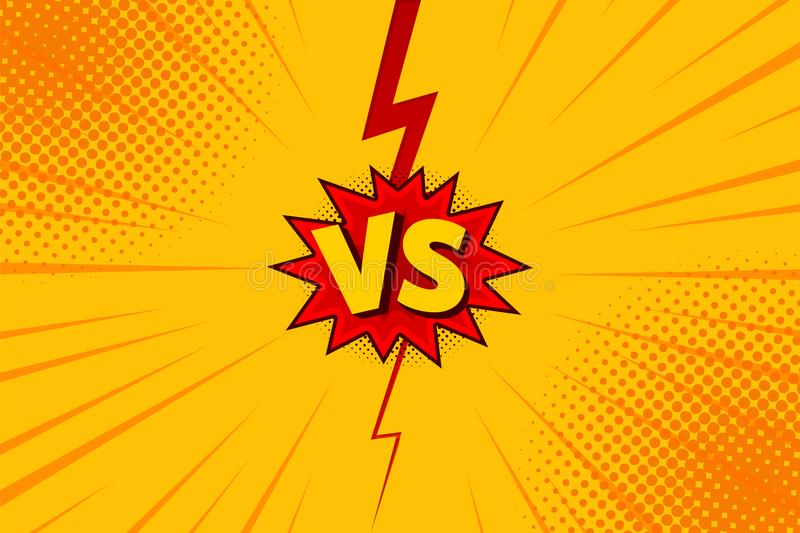 Versus VS letters fight backgrounds in flat comics style design with halftone, lightning. Vector royalty free illustration